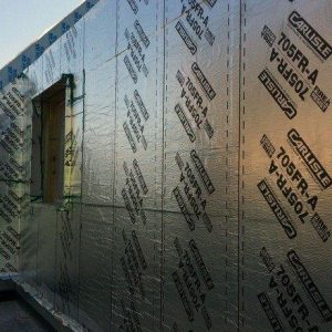 Carlisle 705 FR-A fire resistant vapor barrier sheet membrane on suilding side