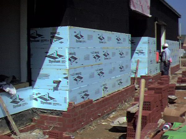 Dow Cavitymate Styrofoam insulation under brick veneer