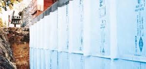 Dow Perimate Styrofoam Insulation Board on exterior foundation wall