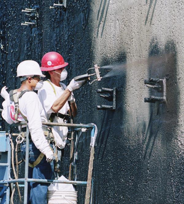 Carlisle Barricoat R spraying on foundation wall