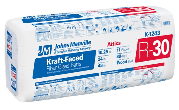 Johns Manville Fiberlass Insulation packaging